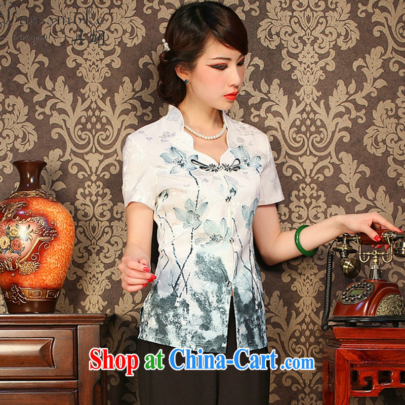 Dan smoke summer new improved retro Lotus V collar, short-sleeved short manually load the snap flowers cheongsam shirt such as the color 2 XL