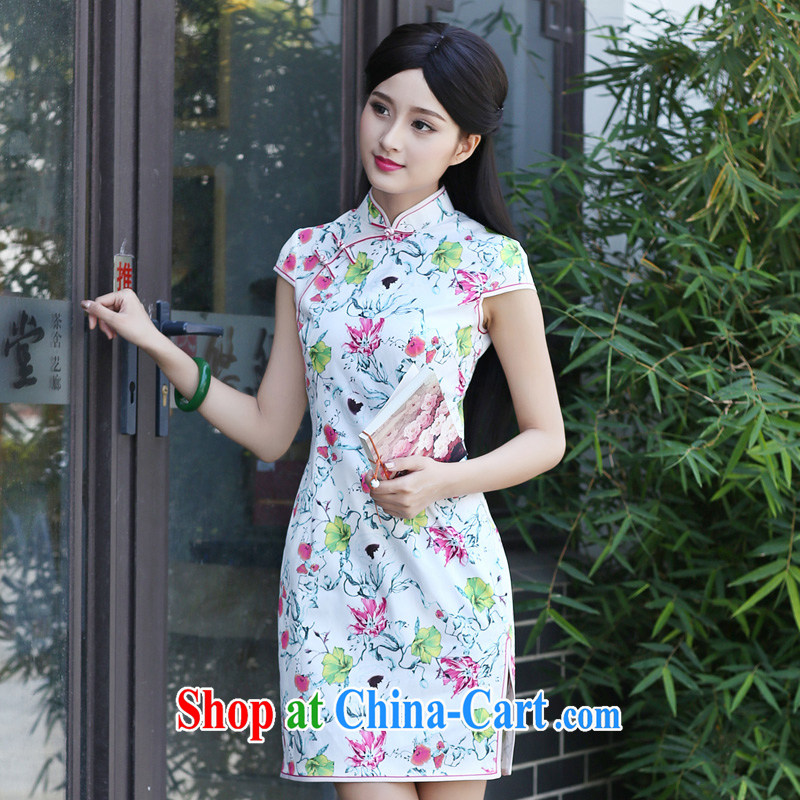 China classic 2015 new daily improved, qipao dresses retro art small fresh short summer XXXL suit
