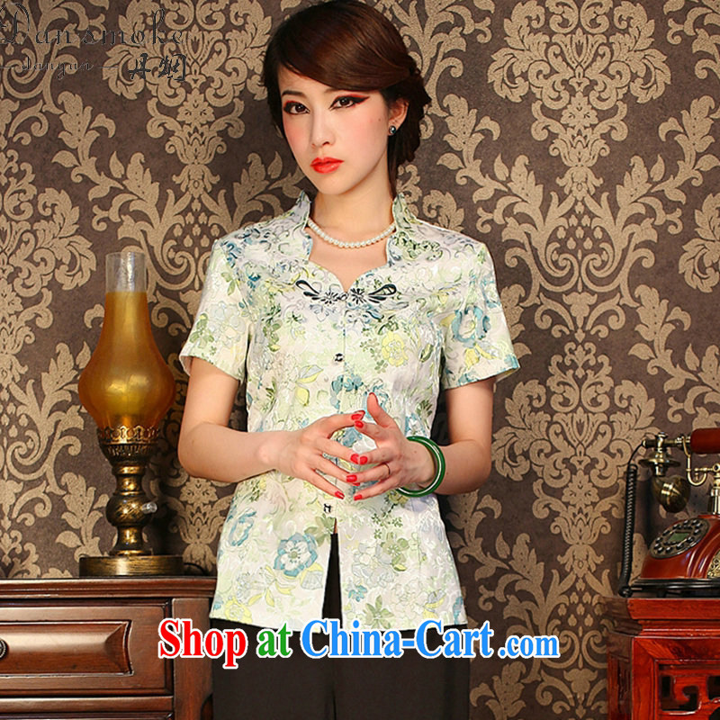 Bin Laden smoke summer new, Chinese Chinese improved retro butterfly flowers snap graphics thin everyday dresses T-shirt as shown color XL