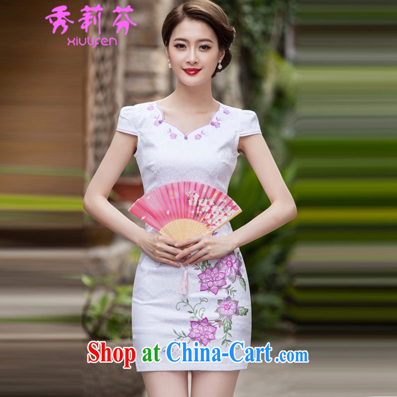 Hsiu-li-fen 2015 spring and summer fashion short retro dresses dresses dresses daily dress dress B - 518 - 1126 pink XL