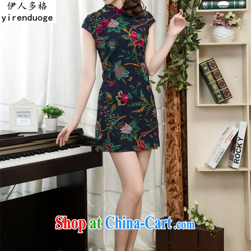 Of the more than 2015 New floral cheongsam elegant Chinese classical beauty graphics thin short cheongsam dress daily summer improved stylish stamp style female 03, S