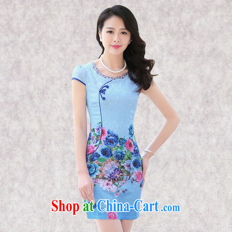 Constitution, a female daily improved round-collar dresses 2015 summer new, Retro beauty charm lady elegant atmosphere dress 7868 blue roses M