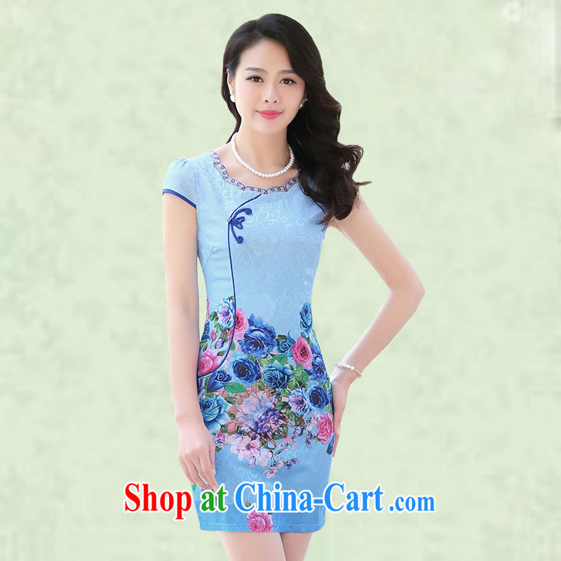 Silent Spring-day improved short cheongsam dress 2015 summer new tourism zone retro beauty charm ladies short skirts elegant atmosphere cheongsam dress 7868 blue roses XXL