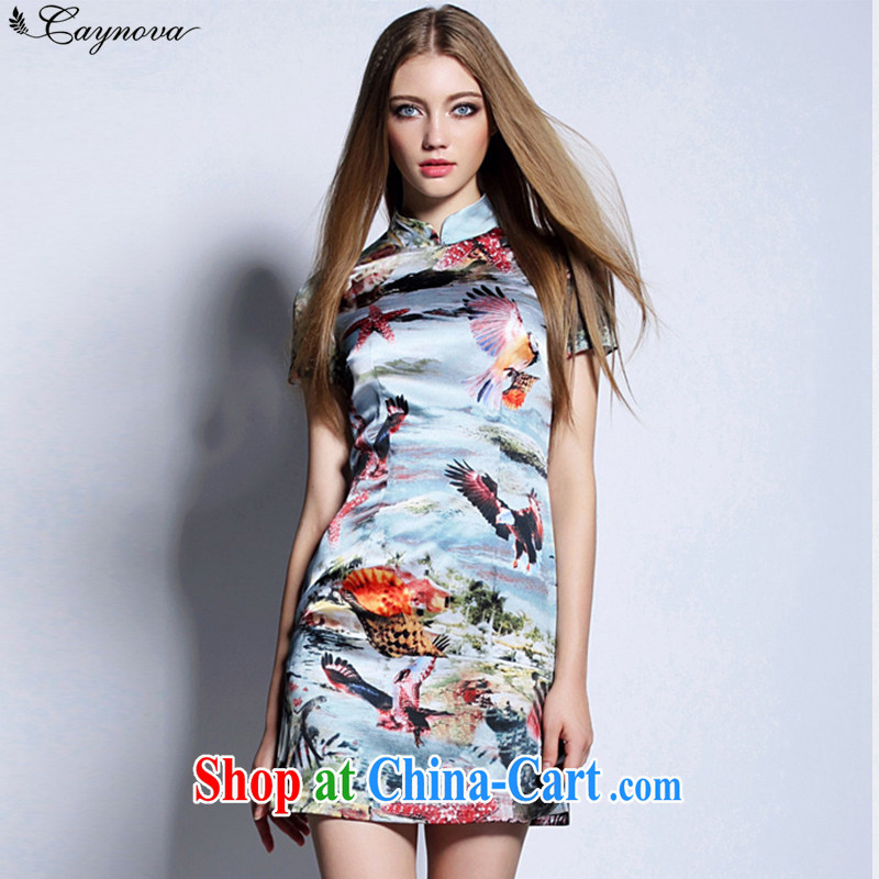 2015 Caynova new retro China wind dresses summer 3 D dyeing shells bird pattern beauty graphics thin picture color XL