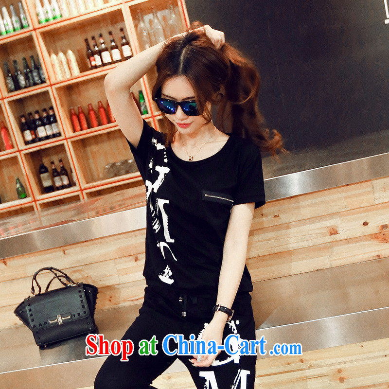Summer new short-sleeved Dress Shirt T metal decorative round-neck collar letters T-shirt Girl S 964 black L