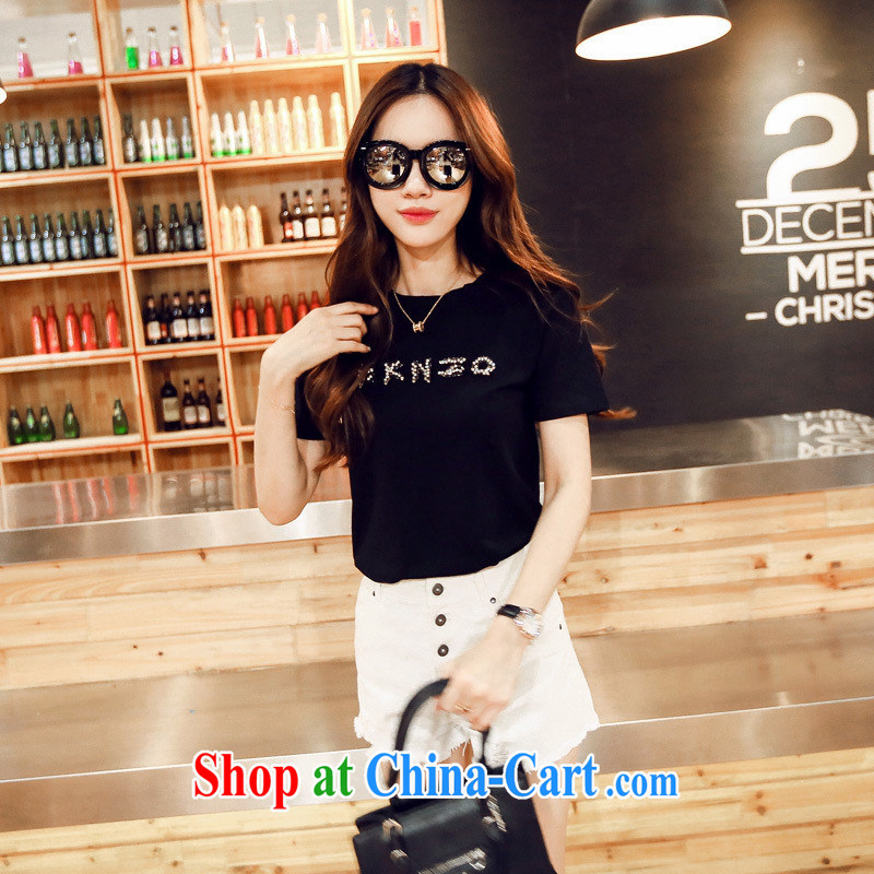 Korean female letters round-collar short-sleeve summer shirt T girl seamless drill S 916 black are code