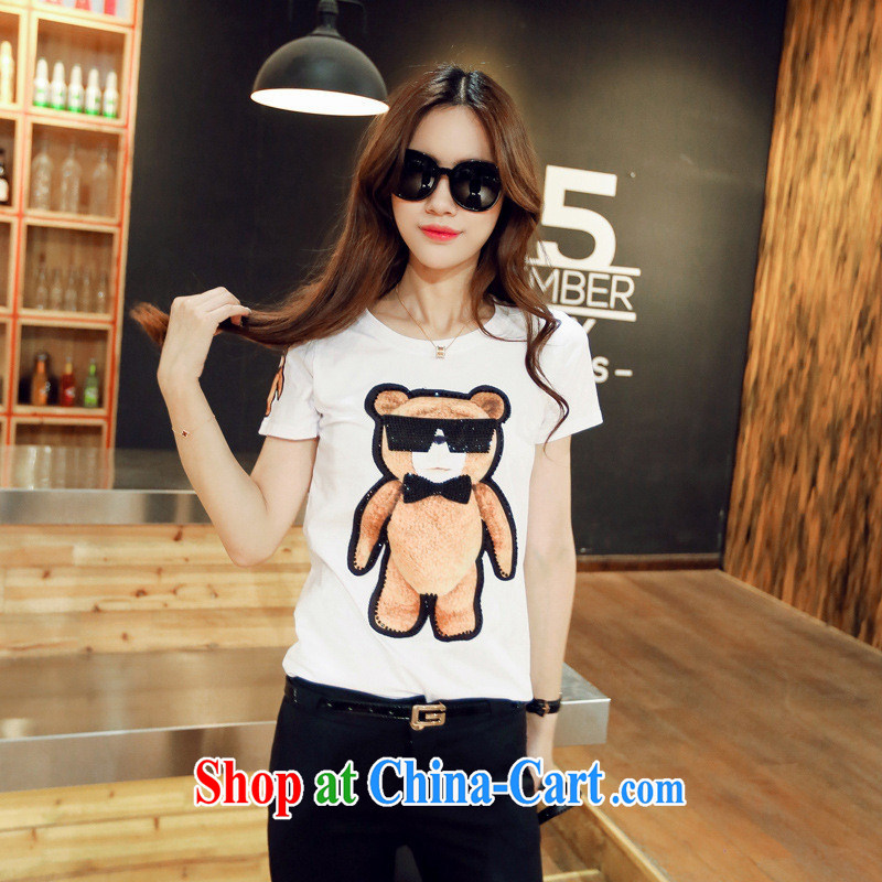 Korean edition summer round-neck collar short-sleeved Cubs parquet drill female T shirt S 917 white are code