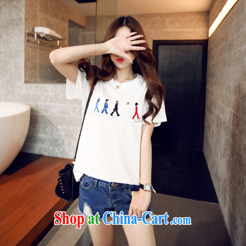 Korean version round-collar embroidery portrait short-sleeved Dress Shirt T S summer 877 white are code
