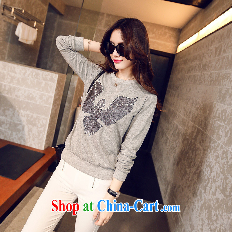 Korean female spring Eagle stamp round-collar T pension female S 767 gray black all code