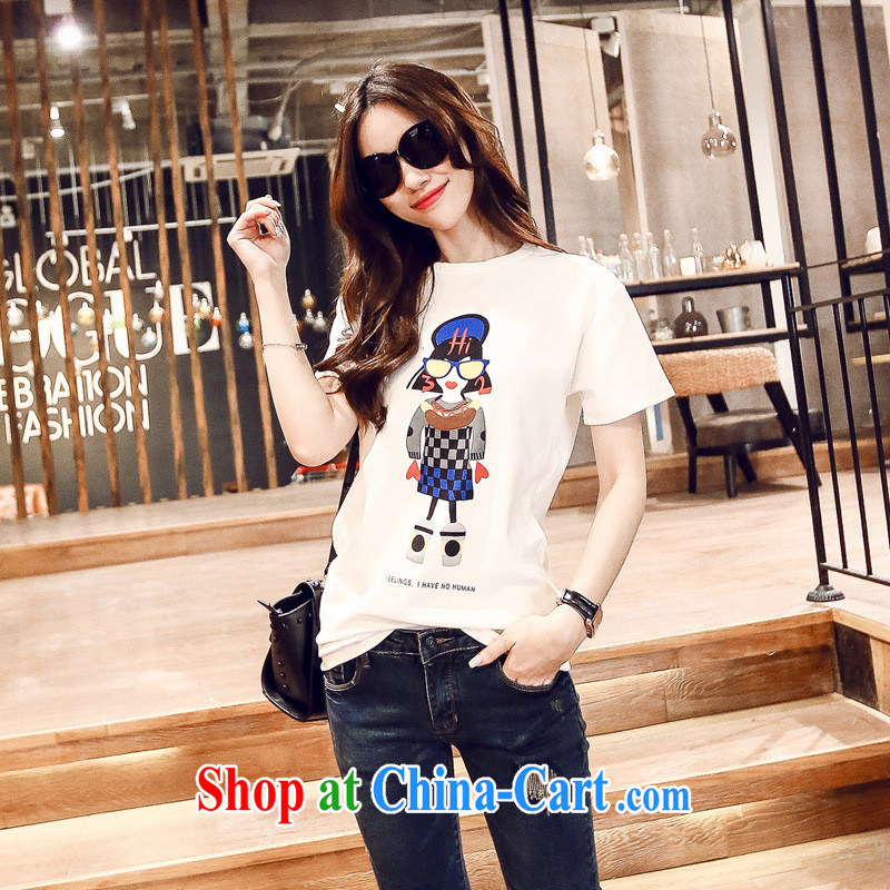 Korean summer female cartoon character round-collar T pension female S 715 white are code
