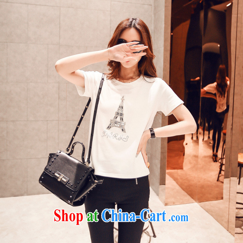 short-sleeve girls T-shirt summer maximum code Cultivating Female in Europe the Eiffel Tower T 桖 parquet drill long-sleeved T-shirt S 816 white are code