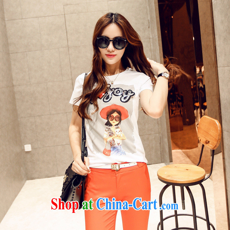 Korean female new round-collar short-sleeve cartoon summer female T pension S 890 black L