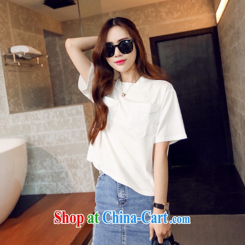Korean double-pocket round-collar short-sleeve Dress Shirt T summer S 856 gray are code