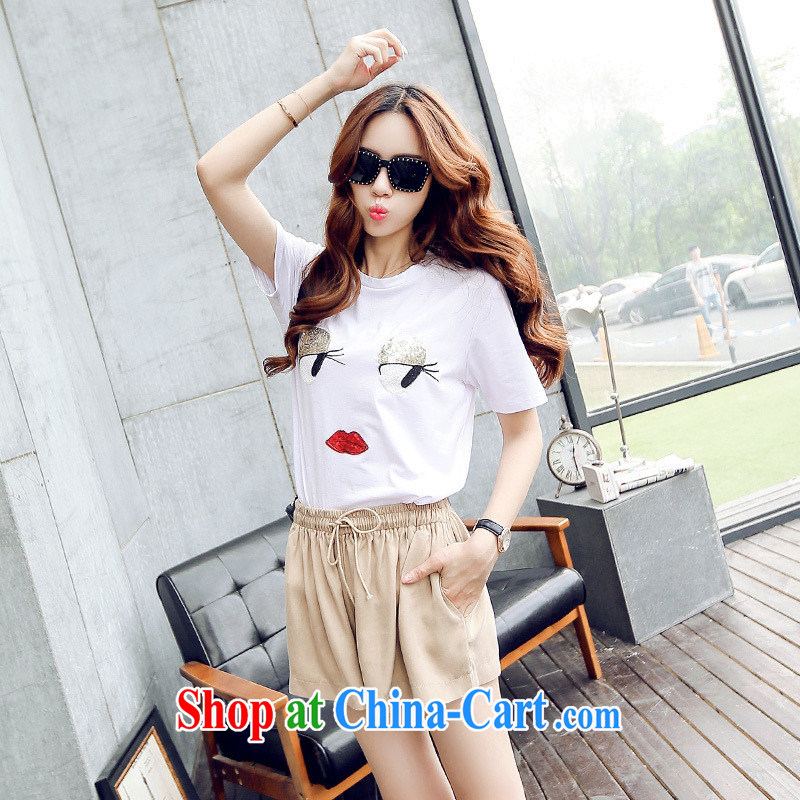Summer new short-sleeved Dress Shirt T eyes that are round-collar T-shirt girls summer S 925 white are code