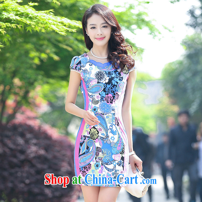 Air Shu Diane 2015 new stretch cotton Ma dresses retro beauty everyday dresses skirts summer fashion to dress green XXL