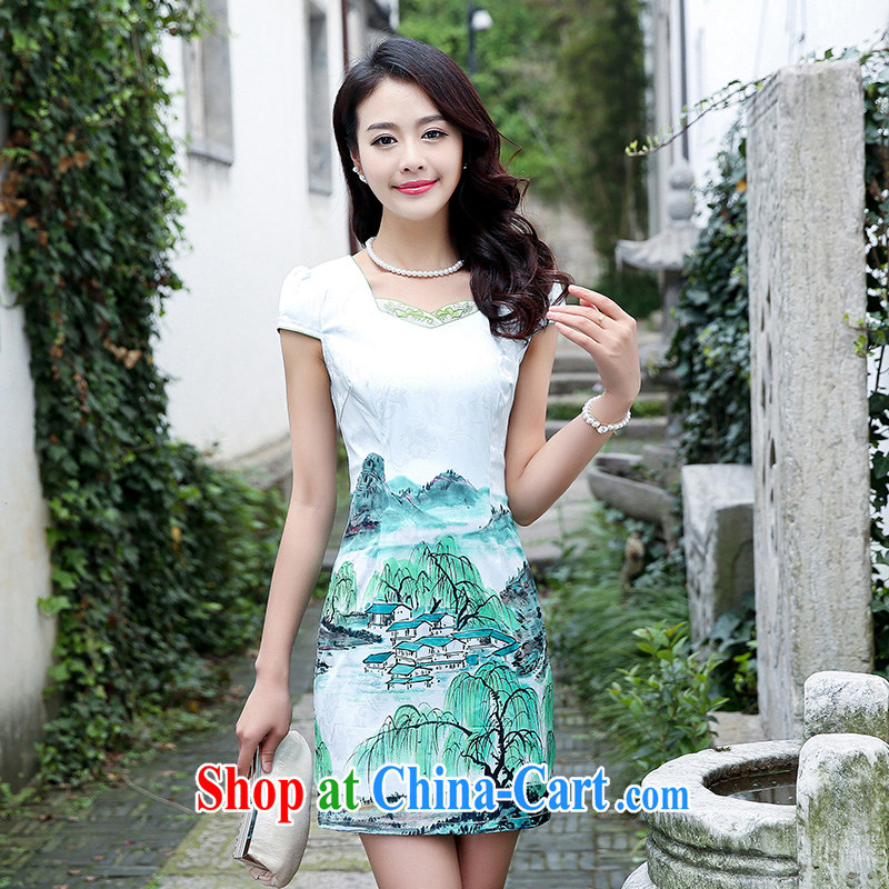 Air Shu Diane cheongsam dress short 2015 new summer day ceremony clothing beauty retro jacquard skirts girls blue willow XL