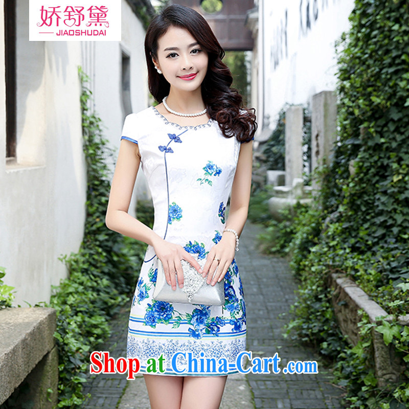 Air Shu Diane 2015 summer new spring stylish retro short Chinese qipao summer improved daily dresses jacquard cotton dress girl blue rose L