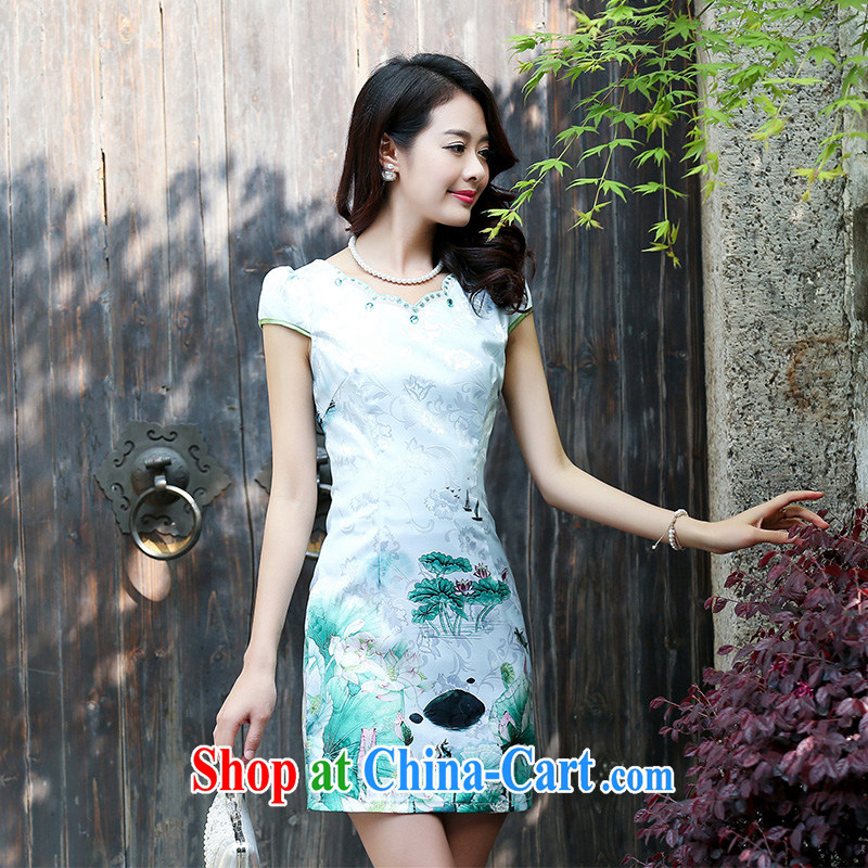 Air Shu Diane 2015 new summer cotton MA the cheongsam retro pink floral stamp improved cheongsam dress lilac L