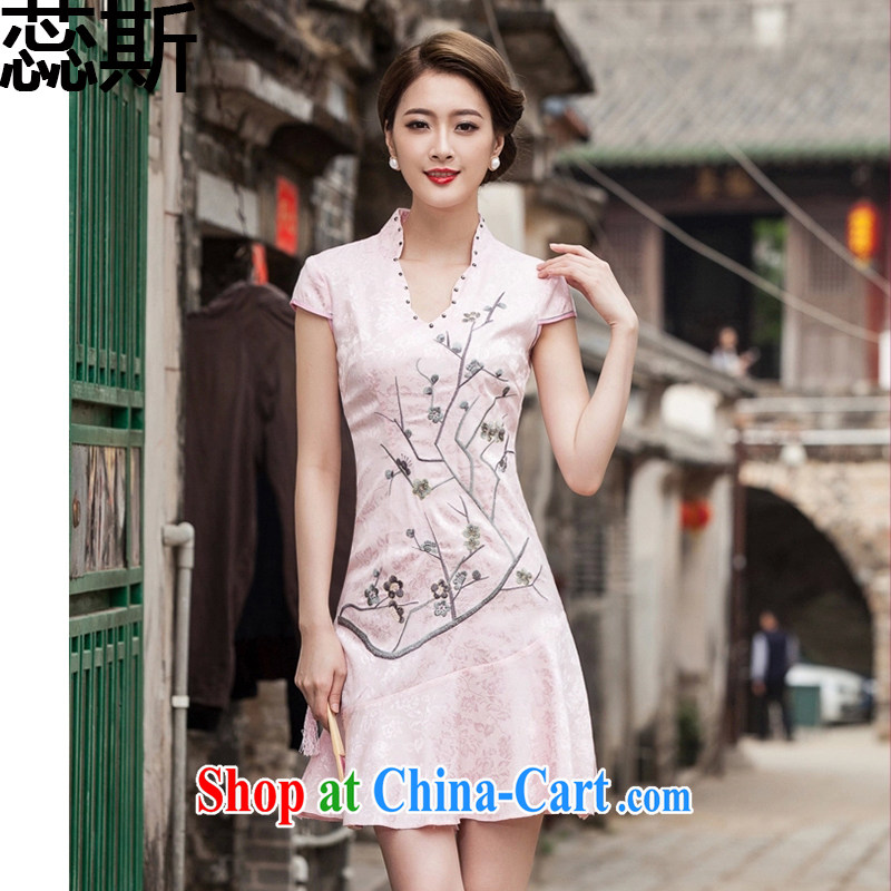 The acajou _summer 2015 new short-sleeved V collar embroidered Phillips nails Pearl crowsfoot skirt with embroidery short cheongsam women 1123 red XL