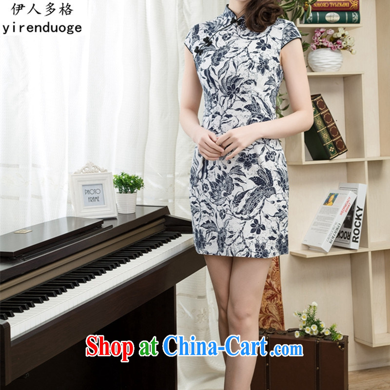 The more the retro 2015 new dresses spring and summer with improved stylish stamp dresses summer short, cultivating the waist graphics thin everyday dress, 01 S