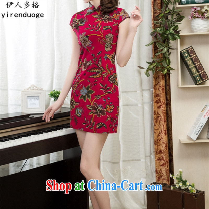 Of the more than 2015 New National wind Women's clothes basket stamp duty the Commission Sau San cheongsam dress improved stylish spring and summer retro short linen dresses and elegant paragraph 010 S