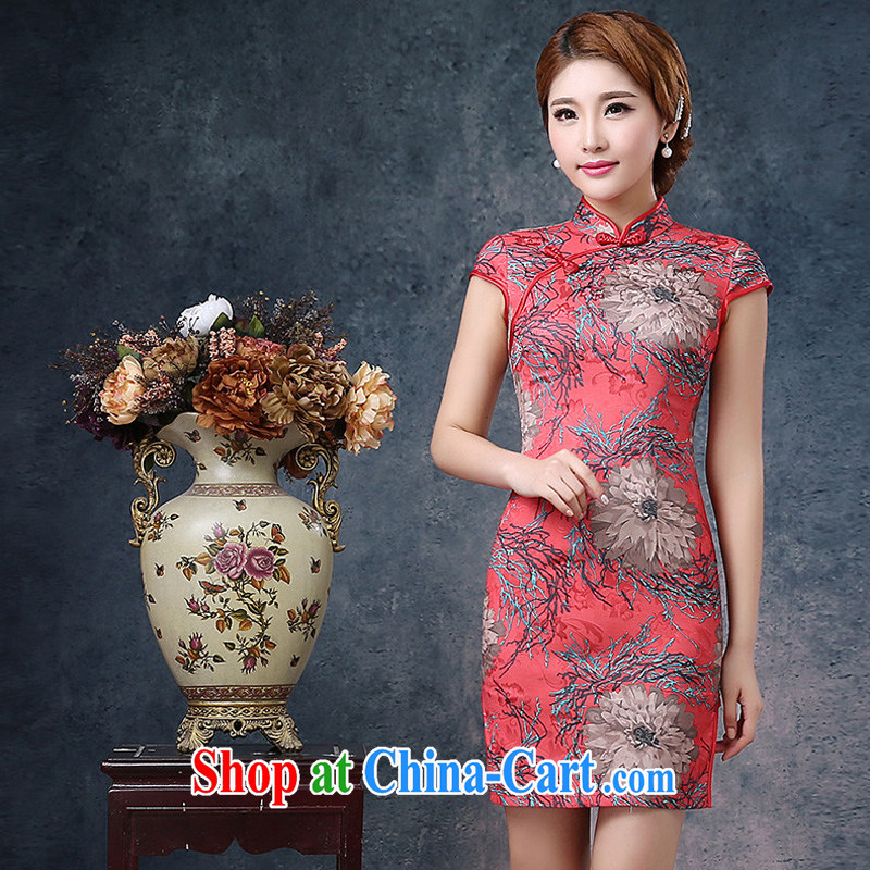 2015 new spring and summer retro improved beauty dresses, stamp duty for the forklift truck sexy dresses daily outfit red stamp XXL