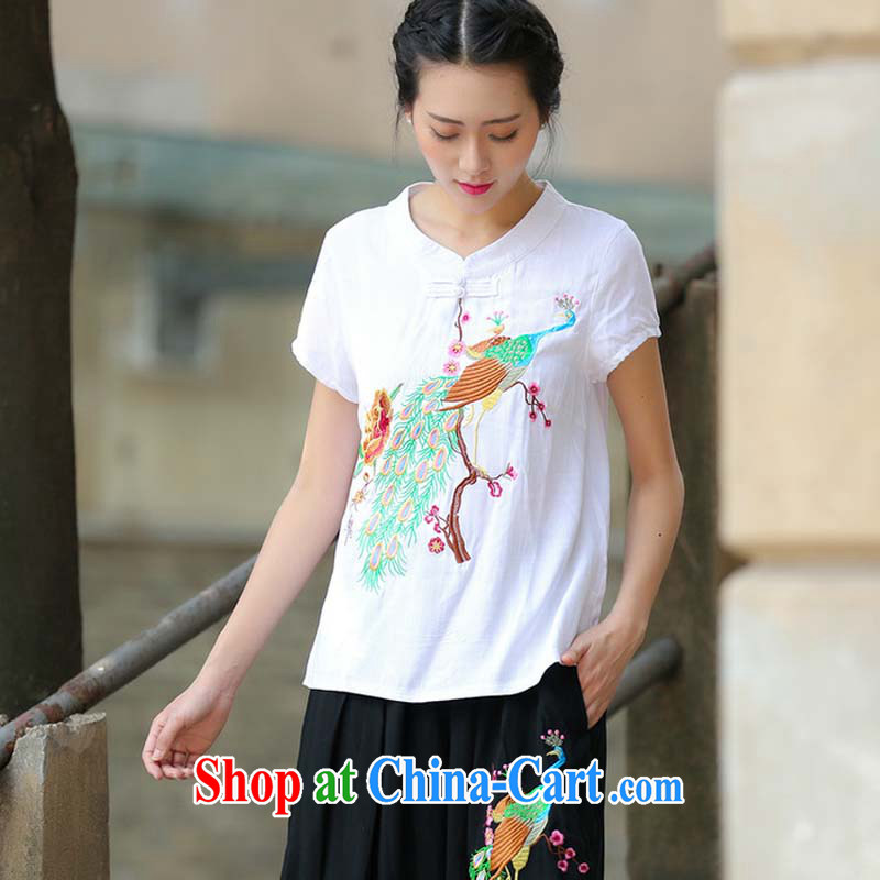Summer 2015 New National wind ladies embroidery antique style Chinese T-shirt beauty Peacock embroidered short sleeved T-shirt white M