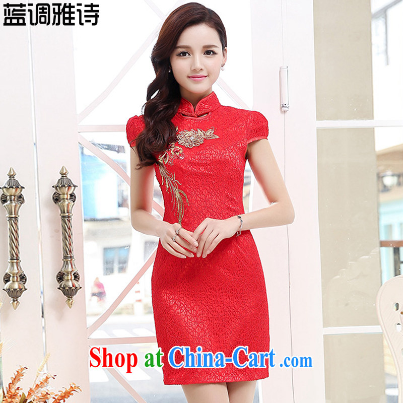 Blues, 2015 new bride wedding dress improved cheongsam dress summer Openwork lace beauty graphics thin retro dresses cheongsam red XXL