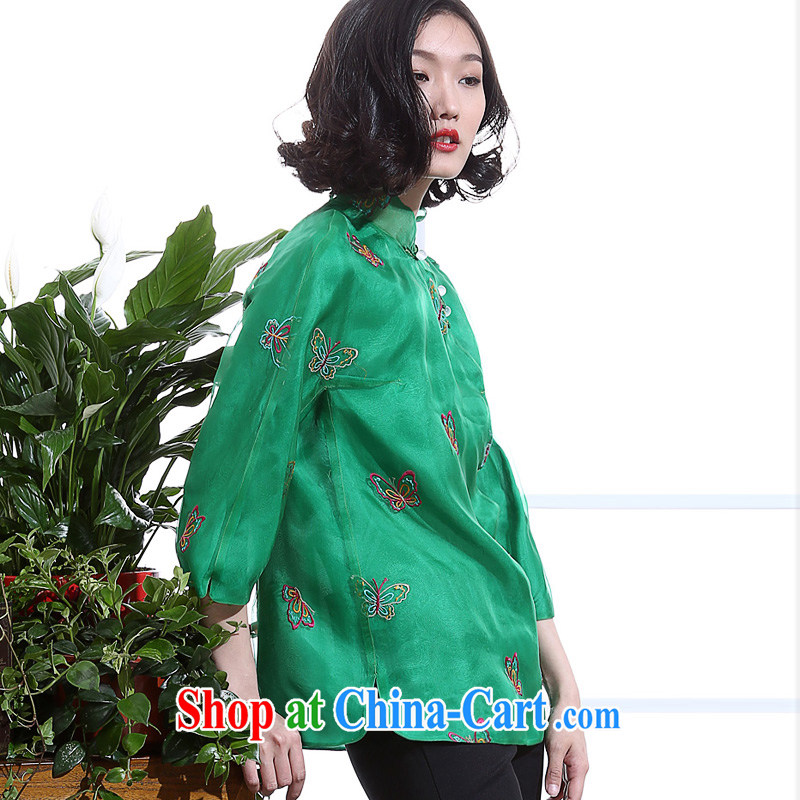 Summer 2015 new manual embroidery butterfly silk European root by Tang women retro Chinese style Chinese, collared T-shirt 7 cuff green L