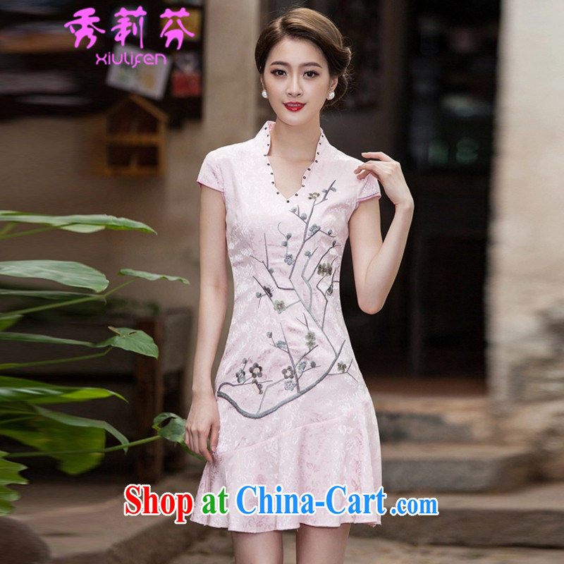 Hsiu-li-fen 2015 spring and summer short-sleeved V collar embroidered Phillips nails Pearl crowsfoot skirt with embroidery short cheongsam B - 518 - 1123 pink XL