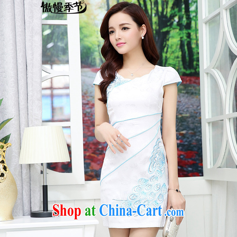 2015 new summer dresses stylish and elegant embroidery antique dresses day dresses beauty dress girls white L
