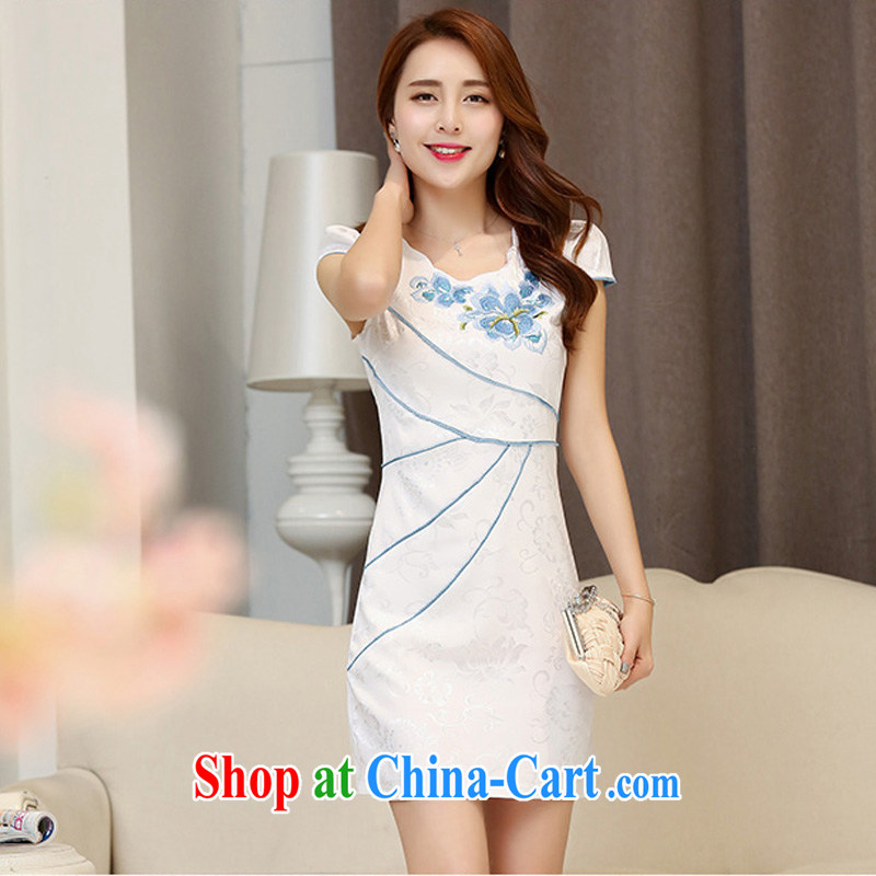 2015 new toast clothing cheongsam dress decorated in summer, Video thin received back daily improved stylish short XXL Hester Prynne