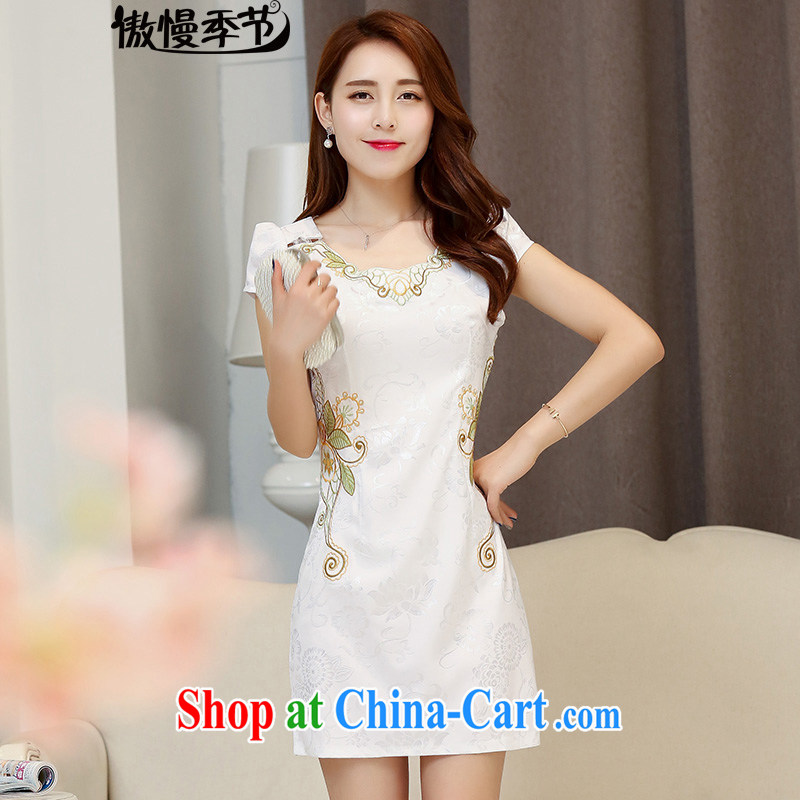 Summer 2015 new women daily improved short cheongsam with stamp duty retro lady package and cultivating dresses white XXL