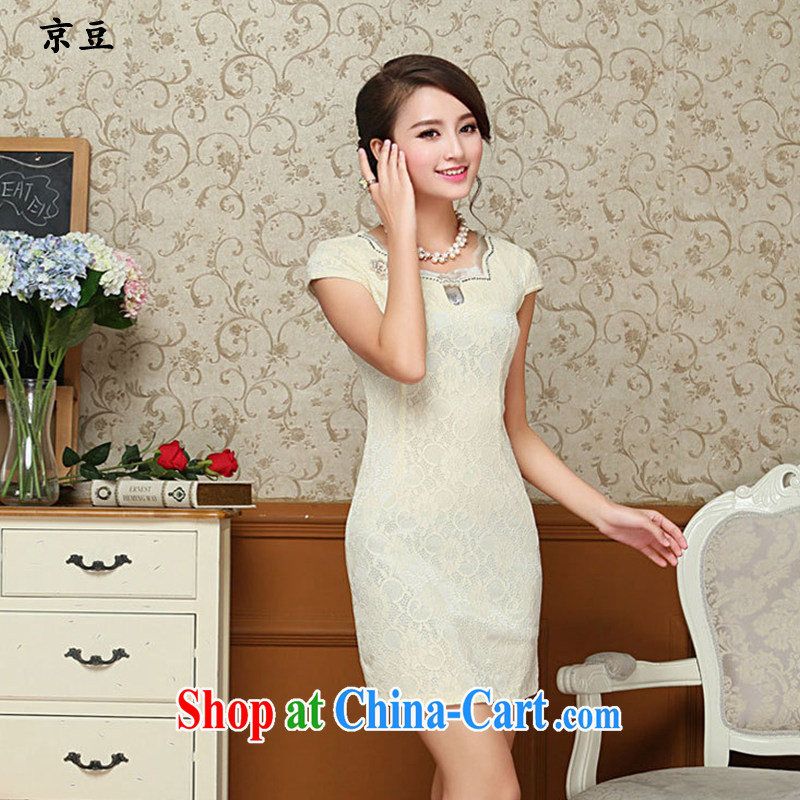 The Beijing Summer 2015 new Stylish retro short cheongsam dress fine lace daily dresses HM - JAYT 67 light yellow XXL