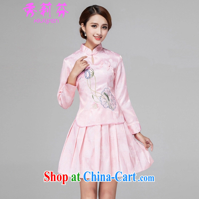 Hsiu-li-fen 2015 spring and summer girls decorated in a classical day-long-sleeved improved stylish outfit two piece kit B - 518 - 1121 pink XL