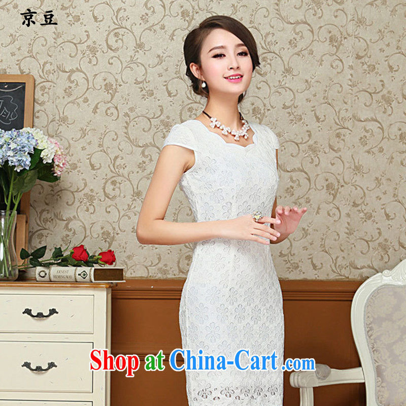 The Beijing Summer 2015 new retro arts Chinese improved banquet beauty graphics thin biological empty white lace cheongsam girls HM - JAYT 65 white XXL