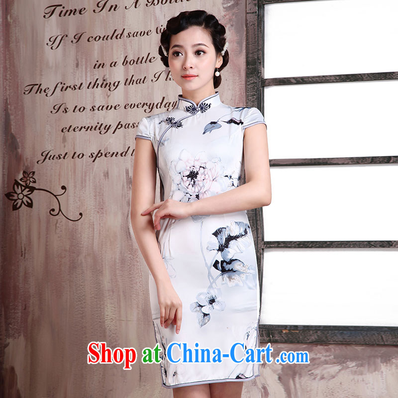 Jubilee 1000 bride's 2015 summer new, Retro beauty cheongsam dress improved temperament, Spring and Autumn and everyday dress cheongsam dress X 2066 dream, orderly - Daisy buckle XXL