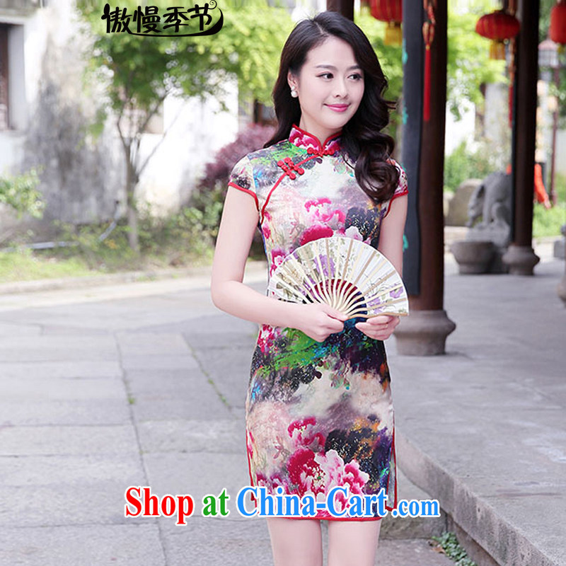 2015 summer new retro stamp improved cheongsam dress qipao Cultivating Female red Peony XXL