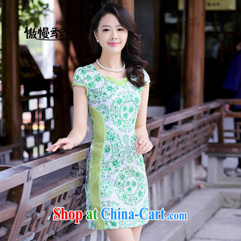 2015 summer new stylish Ethnic Wind daily improved flag cultivating graphics thin larger dresses dresses female Green S