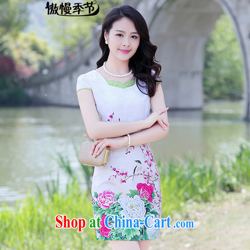 2015 new summer short-sleeved beauty charm retro stamp outfit package and skirt dresses female Red Peony XL