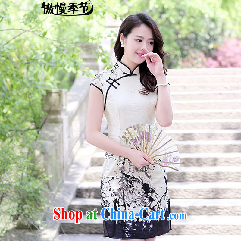 2015 new summer stylish quality elegant Ethnic Wind retro short-sleeve classic cheongsam-style dresses female water and ink spent M