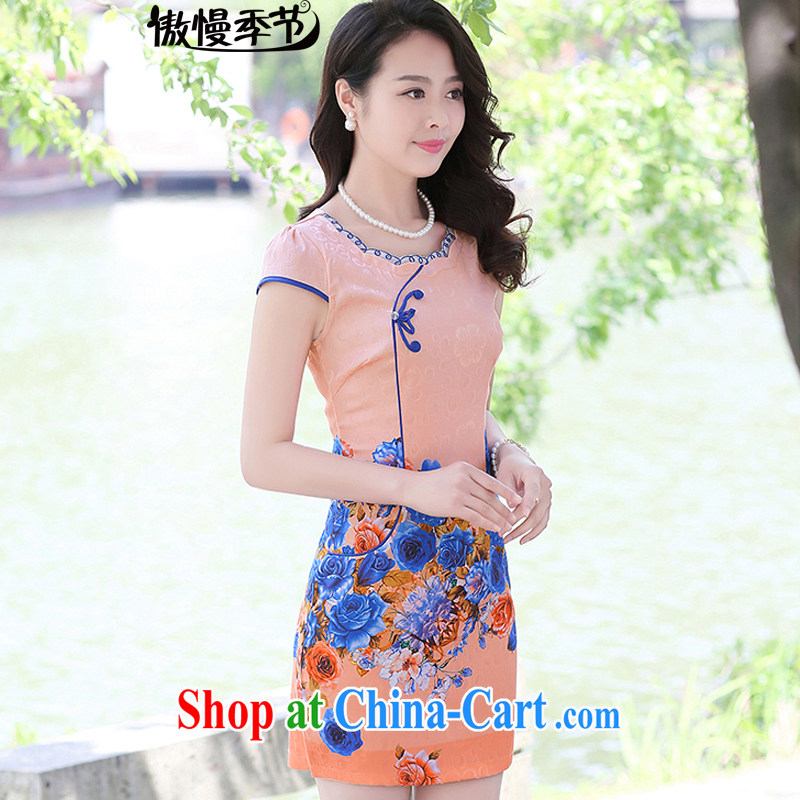 2015 new summer retro dresses short daily improvement beauty dress cheongsam dress female toner the roses L