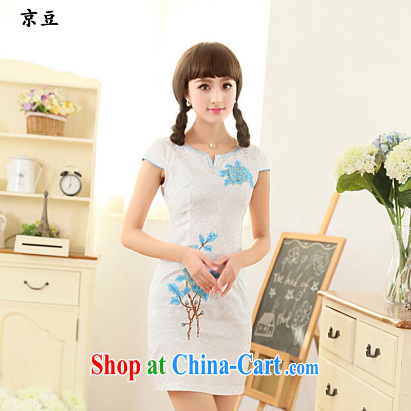The Beijing Summer 2015 new and fresh artistic Chinese improved cultivation embroidered graphics thin lace cheongsam girls HM - JAYT 63 blue XXL