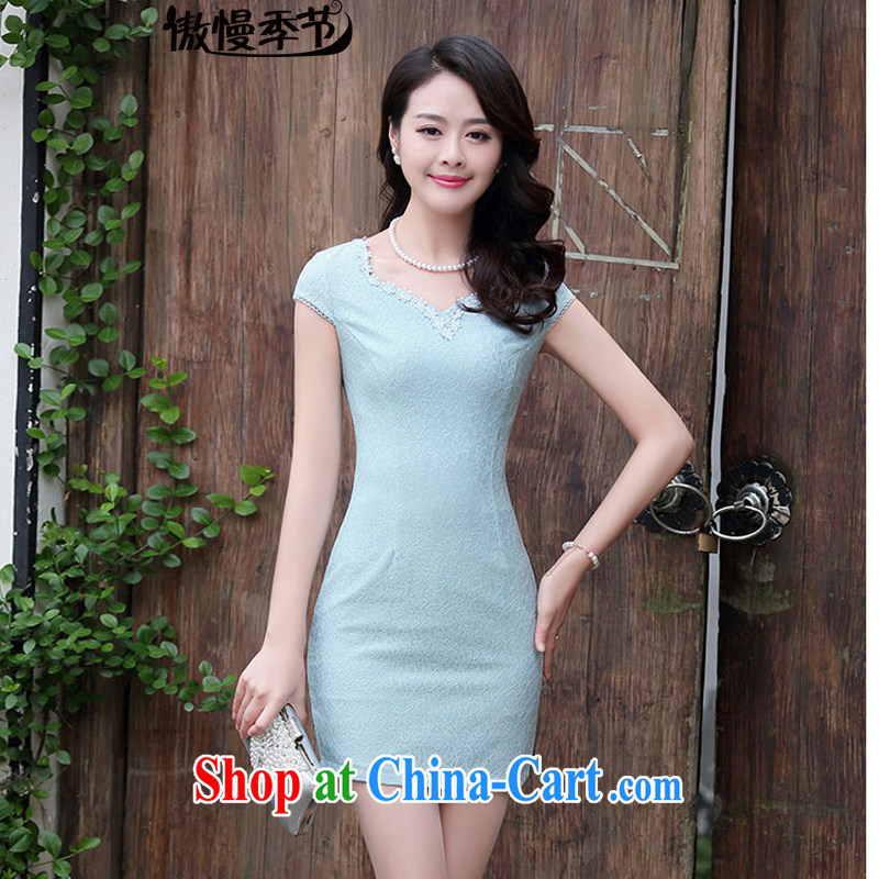 Summer 2015 new Korean video thin beauty lace package and solid short-sleeve further skirts dresses girls dresses blue XL