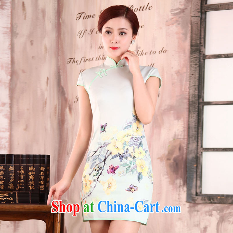 Jubilee 1000 bride spring 2015 new summer dresses retro improved simplicity and idyllic beauty flowers graphics thin daily short cheongsam X 594 Nak-yu XXL