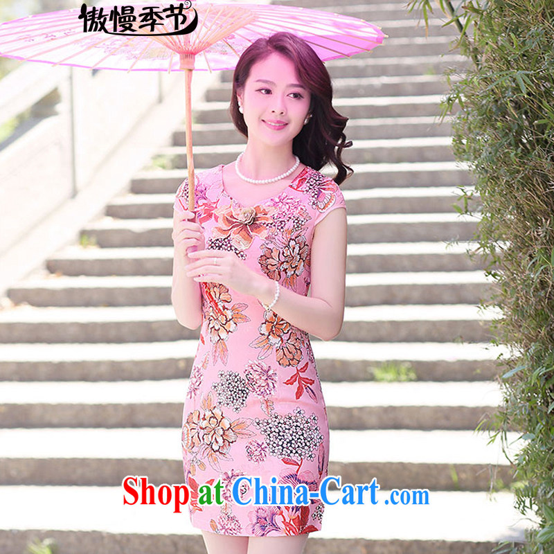 Summer 2015 ladies new stylish dress short-sleeve style lady beauty dresses, girls of the Red Cross (ICRC) spend XXL
