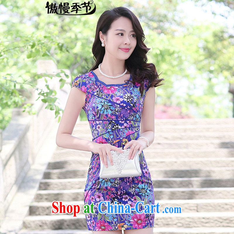 2015 new summer beauty Ms. video air dresses daily short stylish retro dresses blue Sun Flower M