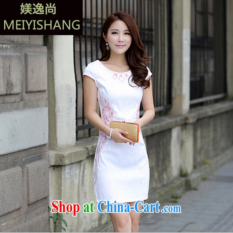 US-Iraqi advisory committee 2015 summer New and Improved stylish embroidered cheongsam dress elegant Chinese Ethnic Wind beauty graphics thin style short-sleeved gown pink XL