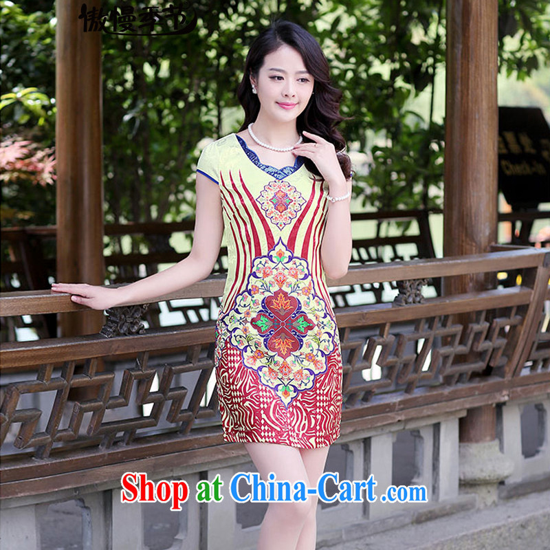 2015 summer new girl stamp retro beauty package and floral improved fashion cheongsam dress short sections of red wavy XXL