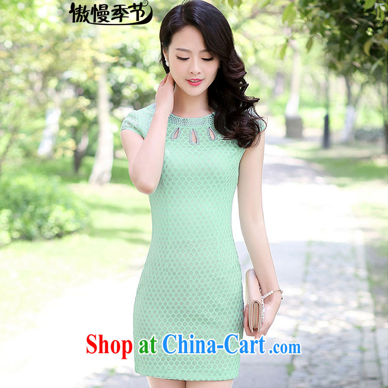 Summer 2015 women who decorated graphics thin lace dresses pink Openwork round-collar dresses dresses female fruit green M